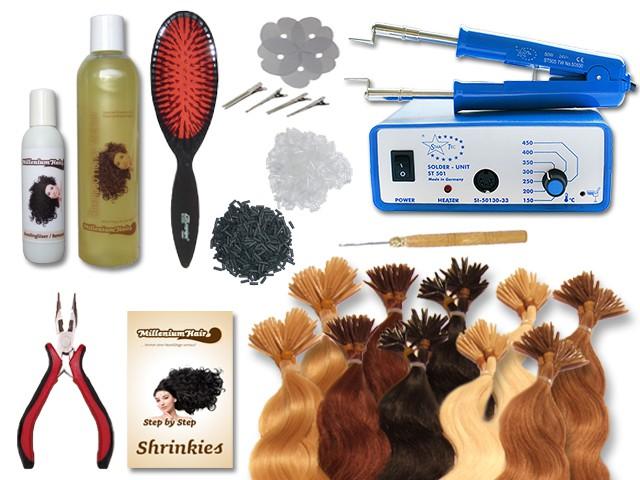 Komplett-Set - 160 Strähnen - Shrinkies - gewellt - 60 cm - Haarverlängerung