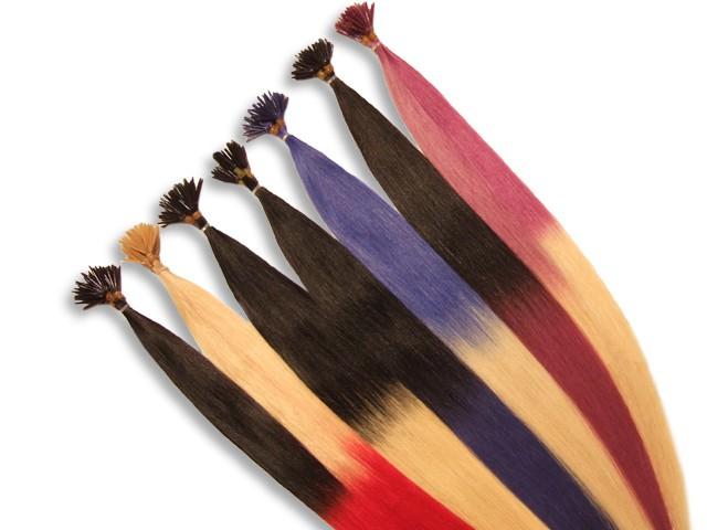 20 indische Two Tone Echthaarsträhnen, I-Tip, glatt, 60 cm - Haarverlängerung