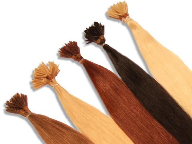 20 indische Echthaarsträhnen, I-Tip, glatt, 40 cm - Haarverlängerung