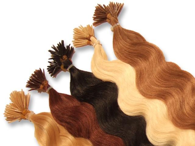20 indische Echthaarsträhnen, I-Tip, gewellt, 40 cm - Haarverlängerung