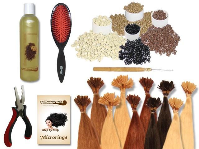 Komplett-Set - 160 Strähnen - Microrings - glatt - 40 cm - Haarverlängerung