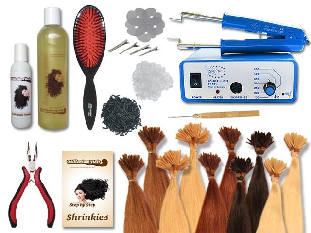 Komplett-Set - 160 Strähnen - Shrinkies - glatt - 40 cm - Haarverlängerung