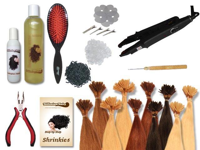 Starter-Set - 120 Strähnen - Shrinkies - glatt - 60 cm - Haarverlängerung