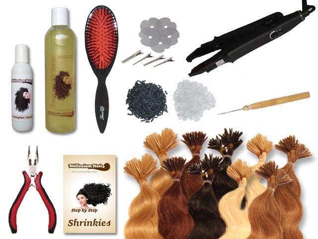 Starter-Set - 120 Strähnen - Shrinkies - gewellt - 60 cm - Haarverlängerung