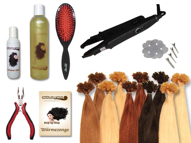 Starter-Set - 120 Strähnen - Wärmezange - glatt - 60 cm - Haarverlängerung