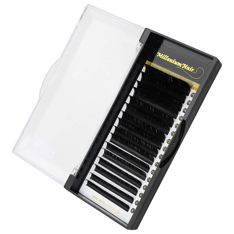 MilleniumHair Silk Lashes - Seidenwimpern - J-Curl - 0,07 mm Stärke - Mix 8 - 15 mm