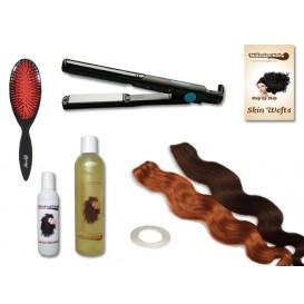 Komplett-Set - 2 Skin Wefts - gewellt - 60 cm - Haarverlängerung