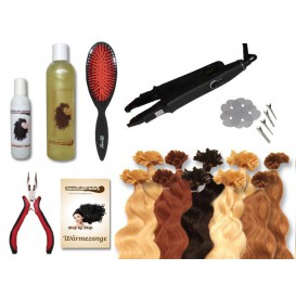 Starter-Set - 120 Strähnen - Wärmezange - gewellt - 40 cm - Haarverlängerung