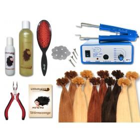 Komplett-Set - 160 Strähnen - Wärmezange - glatt - 60 cm - Haarverlängerung