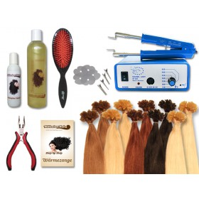 Komplett-Set - 160 Strähnen - Wärmezange - glatt - 40 cm - Haarverlängerung