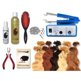 Komplett-Set - 160 Strähnen - Wärmezange - gewellt - 40 cm - Haarverlängerung