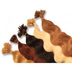 20 indische Echthaarsträhnen, I-Tip, gewellt, 60 cm - Haarverlängerung