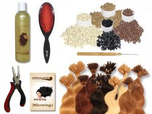 Komplett-Set - 160 Strähnen - Microrings - gewellt - 40 cm - Haarverlängerung
