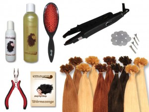Starter-Set - 120 Strähnen - Wärmezange - glatt - 40 cm - Haarverlängerung
